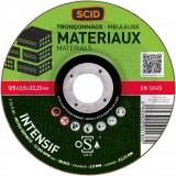 Disque à tronçonner usage fréquent SCID - Matériaux - Diamètre 125 mm - Alésage 22,2 mm