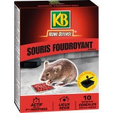 Souricide céréales foudroyant avec boîte d'appât KB home défense - 10 sachets de 10 g