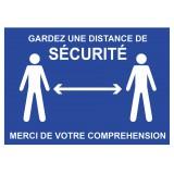 Panneau Garder une distance de sécurité - Bleu - Adhésif A4
