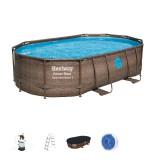 Piscine hors sol ovale avec hublots Power Steel Swim Vista Bestway - Longueur 488 cm - Largeur 305 cm - Hauteur 107 cm