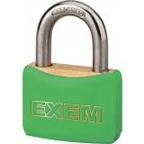 Cadenas laiton gainé à clés - Exem - Largeur 30 mm - Vert