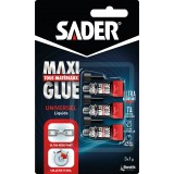 Colle maxiglue liquide Sader - 3 tubes de 1 g