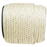 Cordage polyamide nylon blanc liseré vert Corderies Tournonaises - Longueur 100 m - Diamètre 10 mm