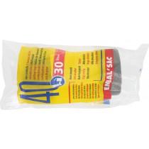 Sac poubelle sous film Schweitzer - 30 l - Hauteur 50 cm - Largeur 60 cm - Ep. 10 microns - 40 sacs